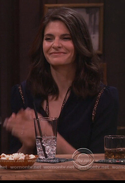 Leslie's blue lace inset blouse on Living Biblically