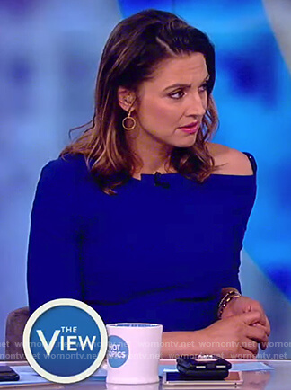 Paula's blue asymmetric neck dress on The View