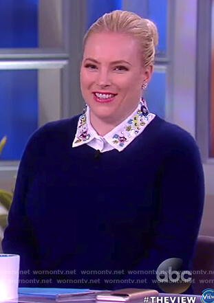 Meghan's blue layered embellished collar sweater on The View