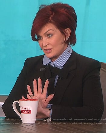 Sharon's blue bow neck embroidered blouse on The Talk