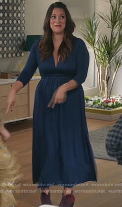 Colleen's blue v-neck long sleeve dress on Life in Pieces