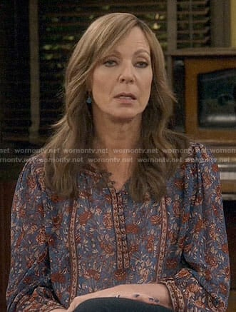 Jill's blue printed blouse on Mom
