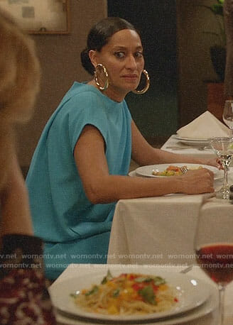 Bo's turquoise blue date night dress on Black-ish