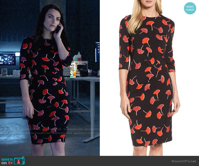 BOSS Eseona Print Sheath Dress worn by Lena Luthor (Katie McGrath) on Supergirl