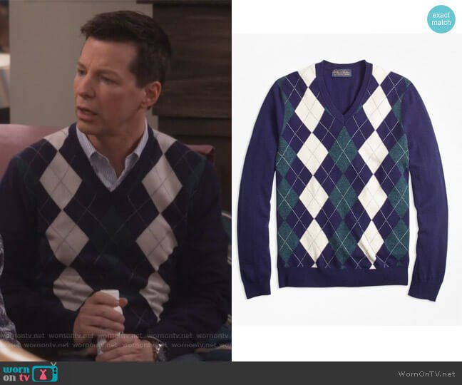 Cashmere Argyle V-Neck Sweater by Brooks Brothers worn by Sean Hayes on Will & Grace