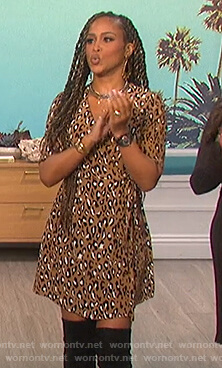 Eve's leopard print v-neck dress on The Talk