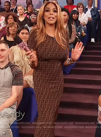 Wendy's brown print sheath dress on The Wendy Williams Show
