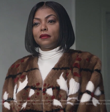 Cookie's brown fur patterned jacket on Empire