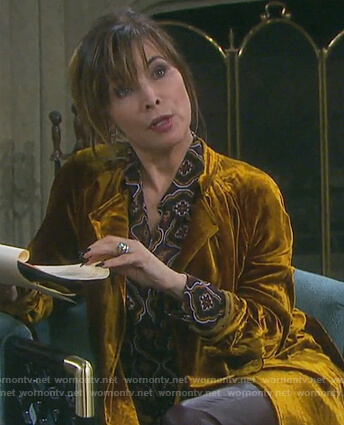 Kate's gold velvet coat and print blouse on Days of our Lives