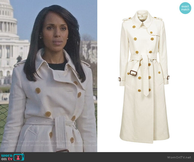 Cotton Linen Canvas Trench Coat by Burberry worn by Kerry Washington on Scandal
