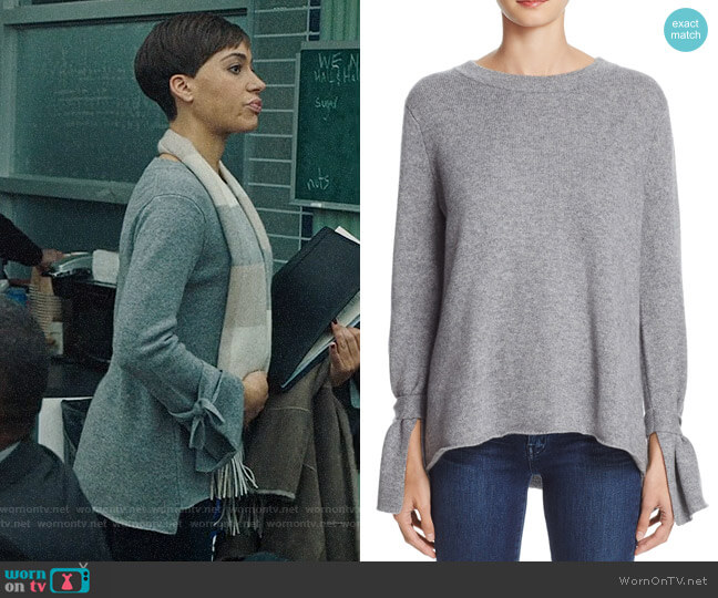 C By Bloomingdales Cashmere Tie-Sleeve Sweater worn by Cush Jumbo on The Good Fight
