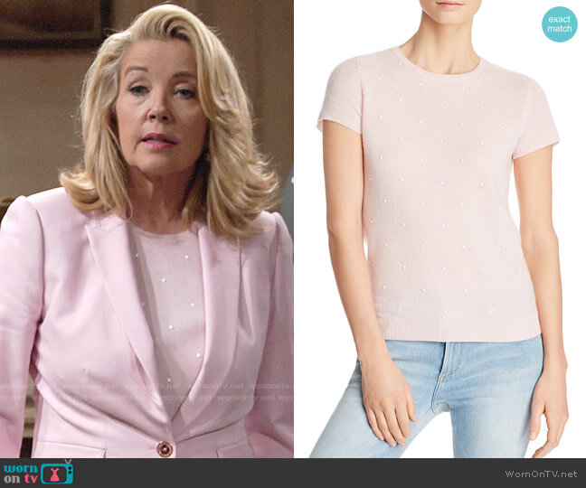 C by Bloomingdales Embellished Cashmere Sweater worn by Nikki Reed Newman (Melody Thomas-Scott) on The Young & the Restless