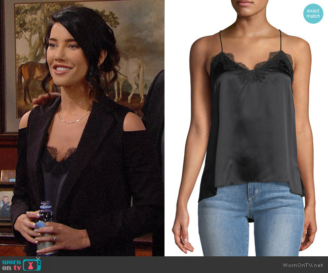 Cami NYC The Racer Silk Charmeuse Camisole w/ Lace worn by Steffy Forrester (Jacqueline MacInnes Wood) on The Bold & the Beautiful