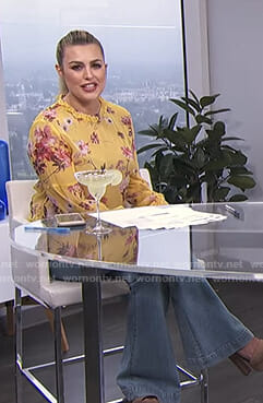 Carissa's yellow floral top and flare jeans on E! News Daily Pop