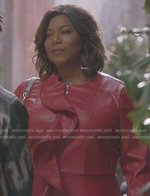 Carlotta's red ruffle leather jacket on Star