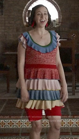 Carol's multi colored ruffled dress on Last Man on Earth
