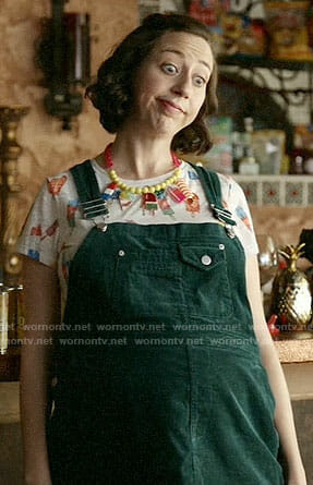 Carol's popsicle print tee and green corduroy dress on Last Man on Earth