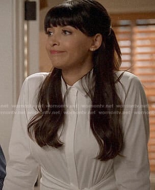Cece's white tie-front shirt on New Girl