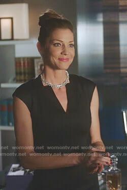 Charlotte's black v-neck cap sleeve dress on Lucifer