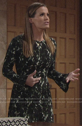 Chelsea's green printed bell sleeve dress on The Young and the Restless