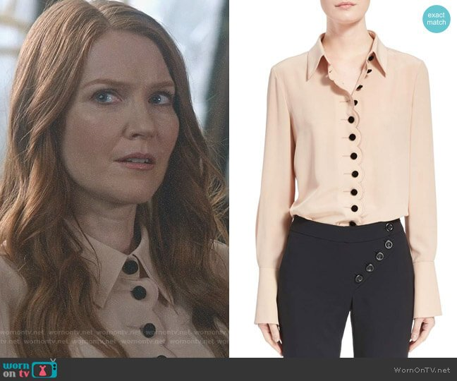 Scalloped Silk Blouse by Chloe worn by Abby Whelan (Darby Stanchfield) on Scandal