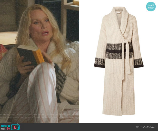 Striped Ribbed Wool-Blend Cardigan by Chloe worn by Nicollette Sheridan on Dynasty