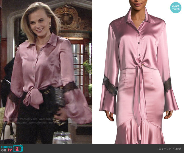 Cinq a Sept Genevieve Blouse worn by Phyllis Newman (Gina Tognoni) on The Young & the Restless