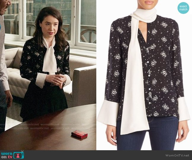 Cinq a Sept Stardust Rowan Silk Floral Top worn by Sarah Steele on The Good Fight