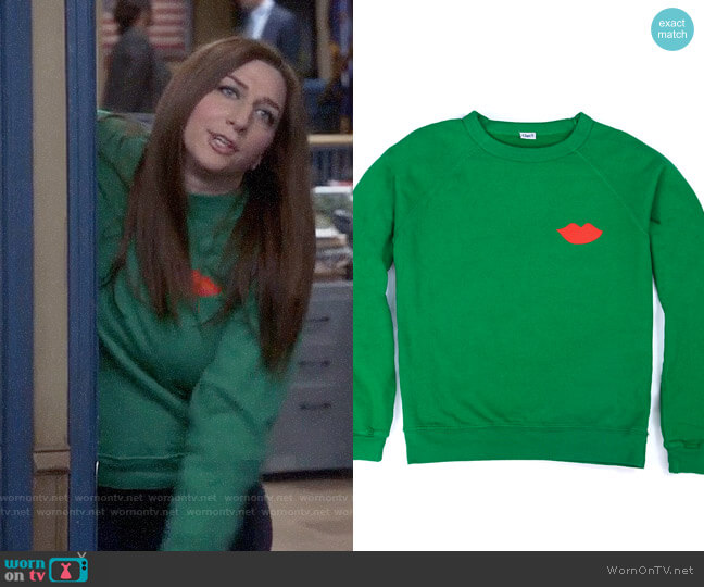 Clare V Sweatshirt in Green w/ Red Lips worn by Gina Linetti (Chelsea Peretti) on Brooklyn Nine-Nine