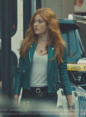 Clary's green moto jacket on Shadowhunters