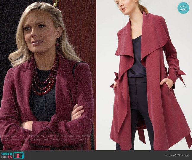 Club Monaco Ellayne Trench worn by Abby Newman (Melissa Ordway) on The Young & the Restless