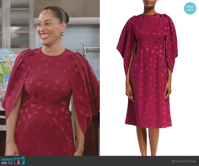 Co Cocoon-Sleeve Mosaic Jacquard Midi Dress worn by Rainbow Johnson (Tracee Ellis Ross) on Blackish