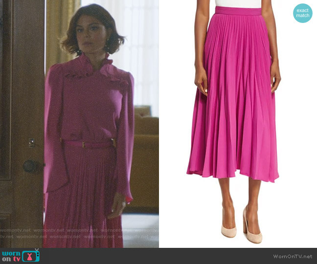 Reverse-Pleated Midi Skirt by Co worn by Nathalie Kelley on Dynasty