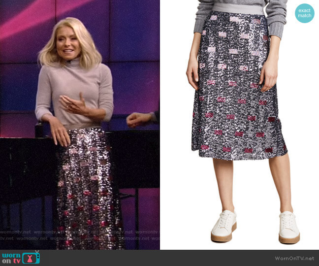 Long Embellished Skirt by Coach 1941 worn by Kelly Ripa  on Live with Kelly & Ryan