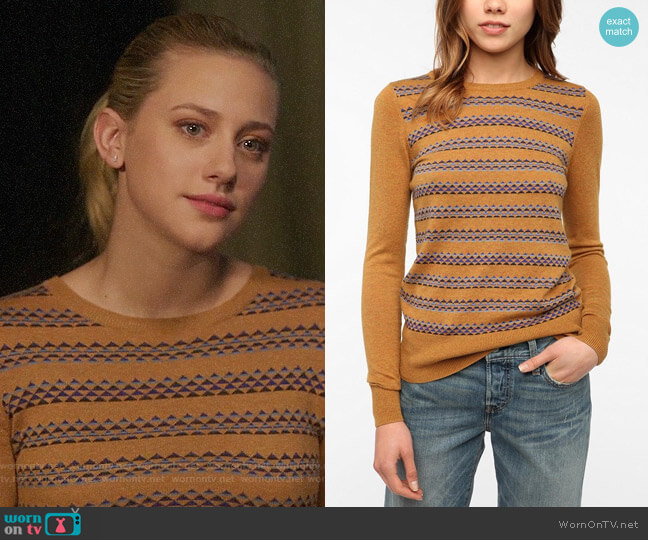 Urban Outfitters Jane Intarsia Knit Pullover Sweater by Coincidence & Chance worn by Betty Cooper (Lili Reinhart) on Riverdale