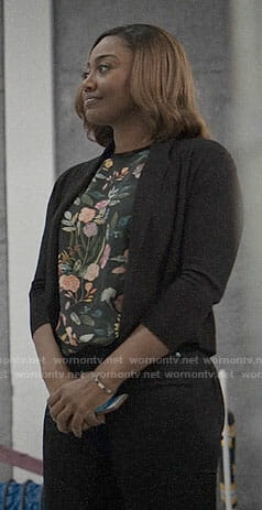 Daisy's floral top on Madam Secretary