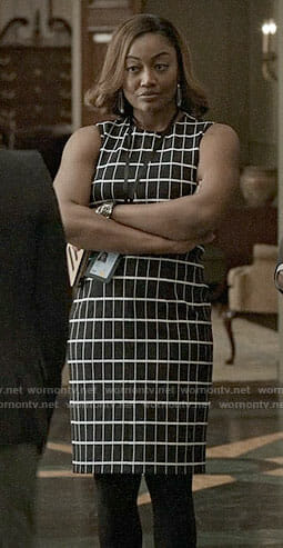 Daisy's black checked dress on Madam Secretary