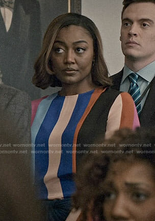 Daisy's multi colored striped blouse and twisted skirt on Madam Secretary