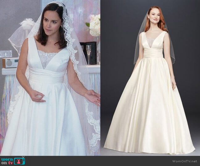 David's Bridal Satin Cummerbund Ball Gown Wedding Dress worn by Melissa Fumero on Brooklyn Nine-Nine