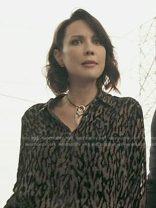 Deann's black leopard blouse on The Arrangement
