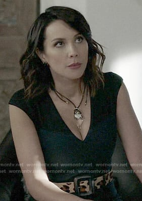 Deann's v-neck dress and clear pendant necklace on The Arrangement