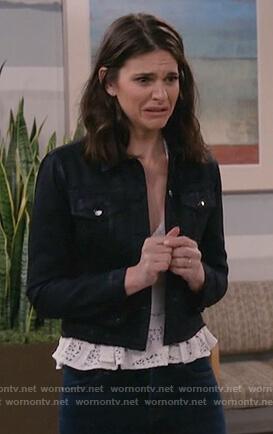 Leslie's black denim jacket on Living Biblically