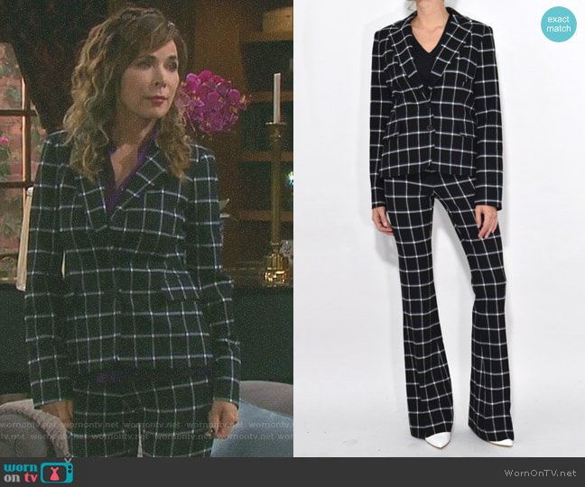 Elbow Patch Plaid Blazer and lare Trousers by Derek Lam 10 Crosby worn by Lauren Koslow on Days of our Lives