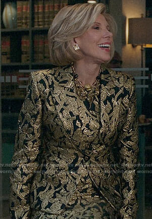 Diane's gold floral skirt suit on The Good Fight