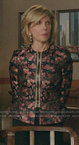 Diane's floral zip front jacket on The Good Fight