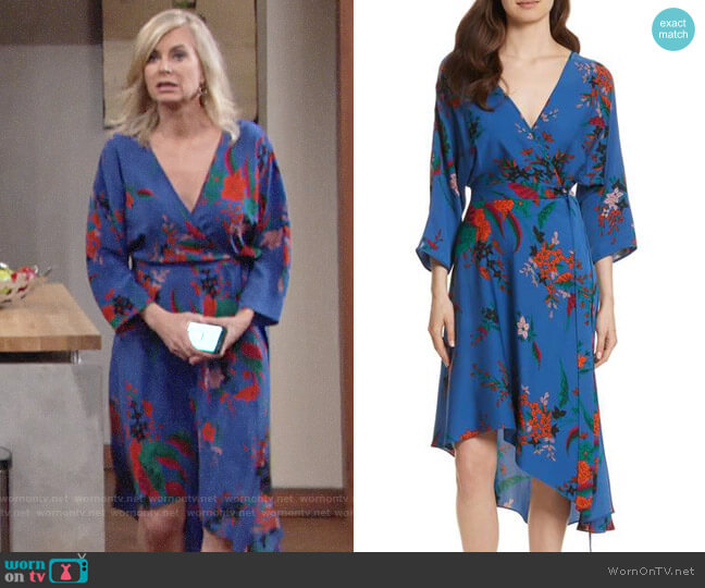 Diane von Furstenberg Silk Asymmetrical Wrap Dress worn by Eileen Davidson on The Young & the Restless