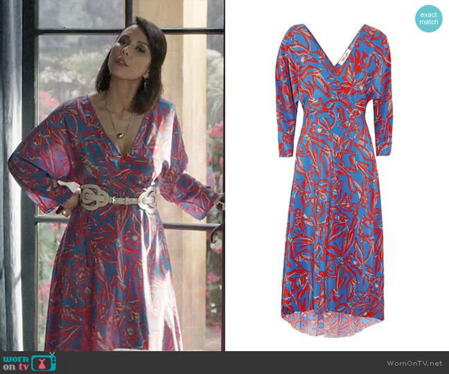 Diane von Furstenberg Asymmetric Printed Midi Wrap Dress worn by Deann Anderson (Lexa Doig) on The Arrangement