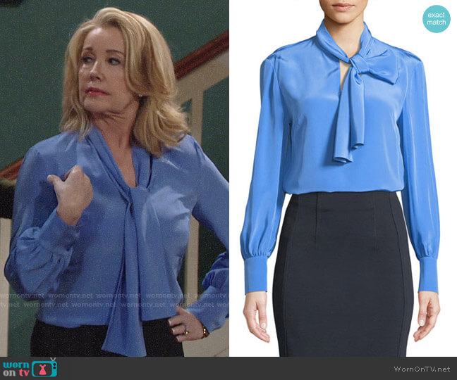 Diane von Furstenberg High Neck Long-Sleeve Silk Bow Blouse worn by Melody Thomas-Scott on The Young & the Restless