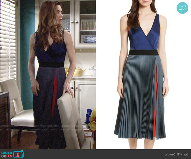 Diane von Furstenberg Pleated Faux Wrap Dress worn by Victoria Newman (Amelia Heinle) on The Young & the Restless