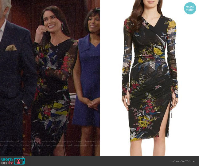 Diane von Furstenberg Ruched Faux Wrap Dress worn by Rena Sofer on The Bold & the Beautiful